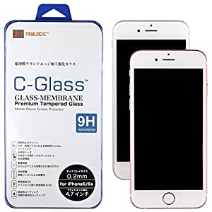 NEWLOGIC 【 iPhone6 / 6s / iPhone7 / iPhone8 】 C-Glass 0.2 mm 強化ガラス液晶保護フィルム (硬度 9H) 感圧タッチ ( 3D touch ) 対応 液晶保護 ガラス フィルム