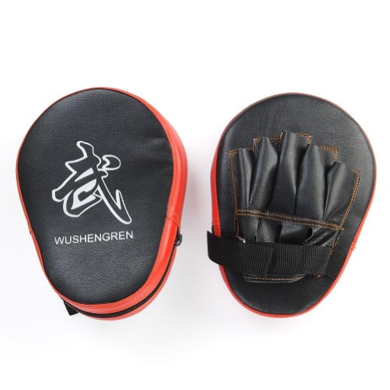 2Pcs伝統PUボクシング吸収パンチエルボーミットMMAフォーカスパンチパッドトレーニンググローブ空手ブラック&レッド