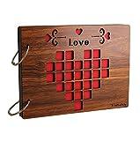 Farway DIYアルバム 木製 スクラップブック 手作り ルーズリーフ式 多様柄 リング2本付き 22*16cm(LOVE) [並行輸入品]