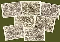 BiblioArt Series P.ブリューゲル(父)「7つの大罪」 額絵7枚セット