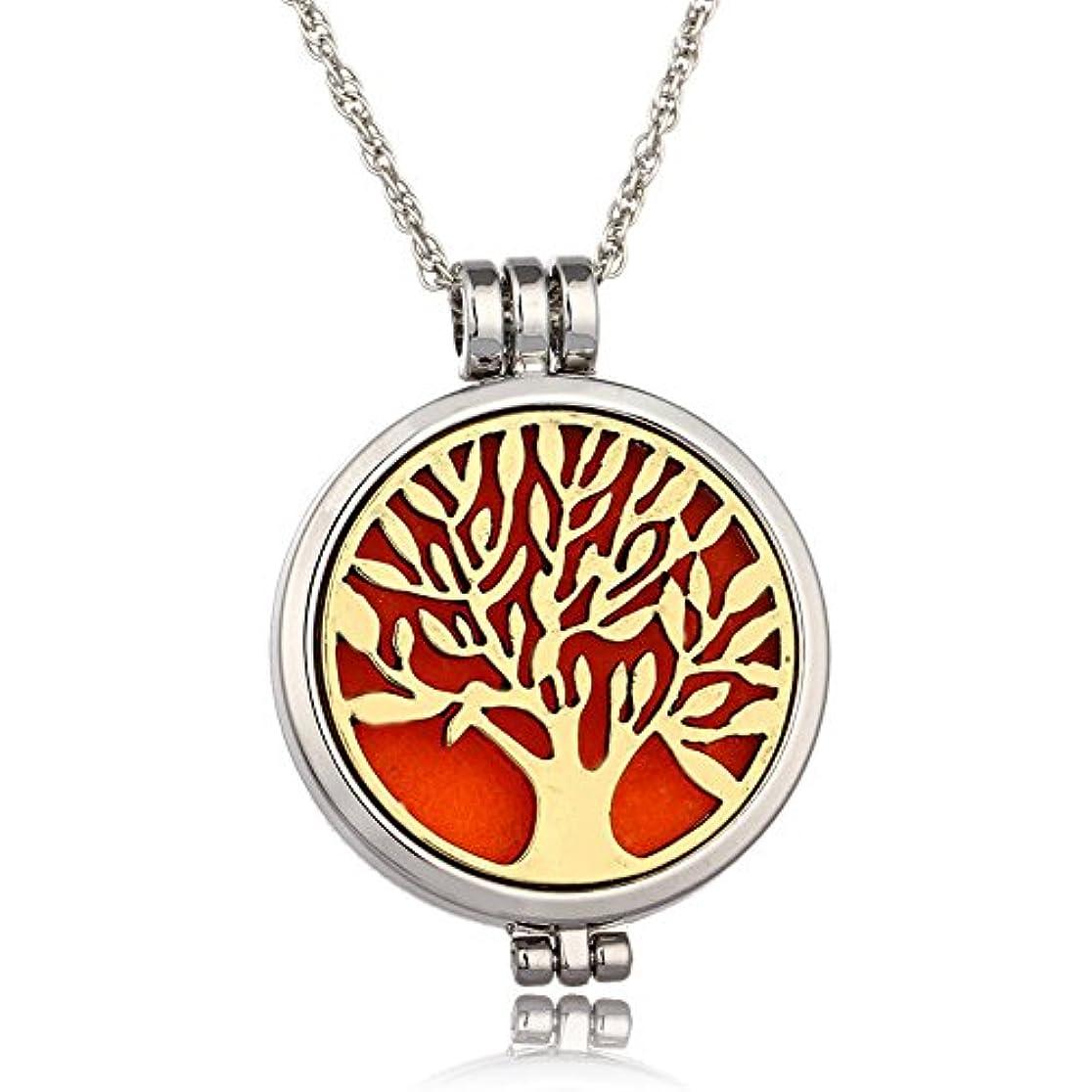 対称カウントアップ理容師Tree of Life 316lステンレススチールEssential Oil Diffuserロケットペンダントネックレス