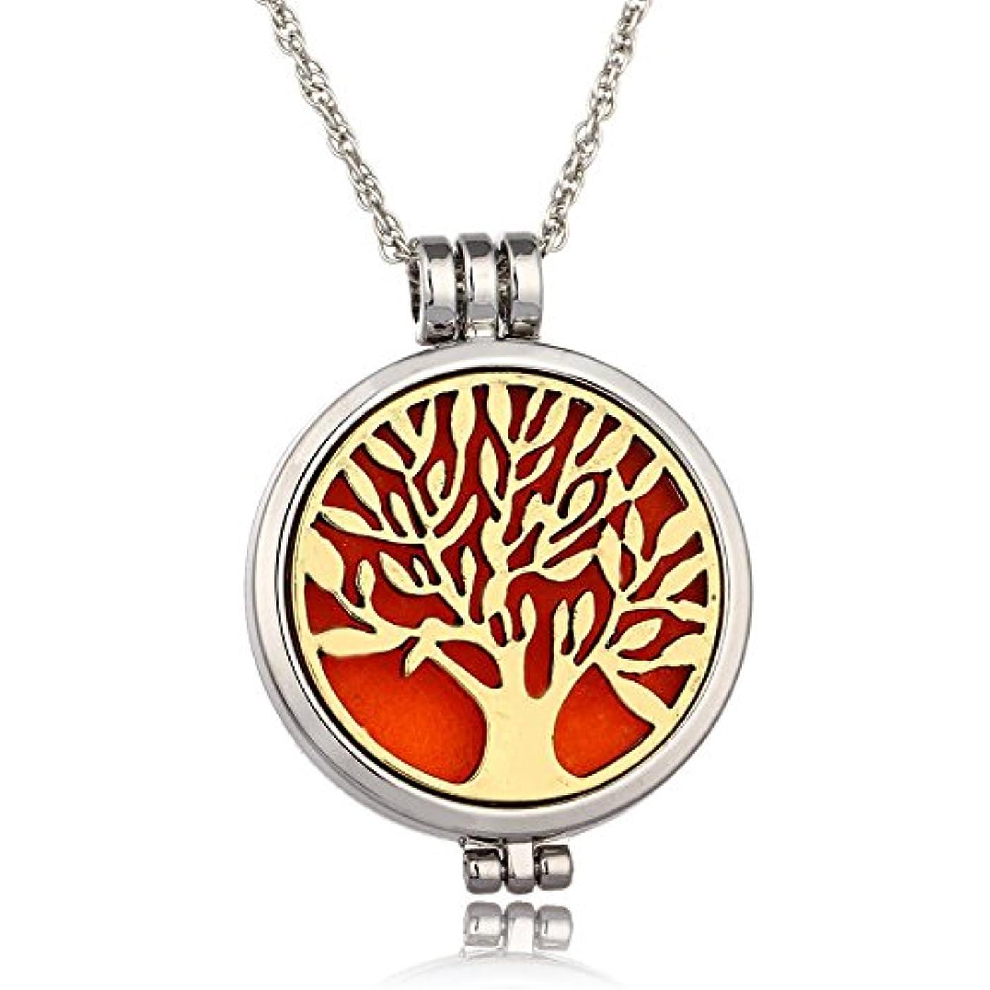 折り目運動する摂氏Tree of Life 316lステンレススチールEssential Oil Diffuserロケットペンダントネックレス