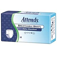 Attends 22043101 Incontinent Brief Attends Extra Absorbent Breathable Briefs Comfort Flex-tabs Medium Disposable Heavy-super Absorbency Brbx20 Box Of 24 by Attends