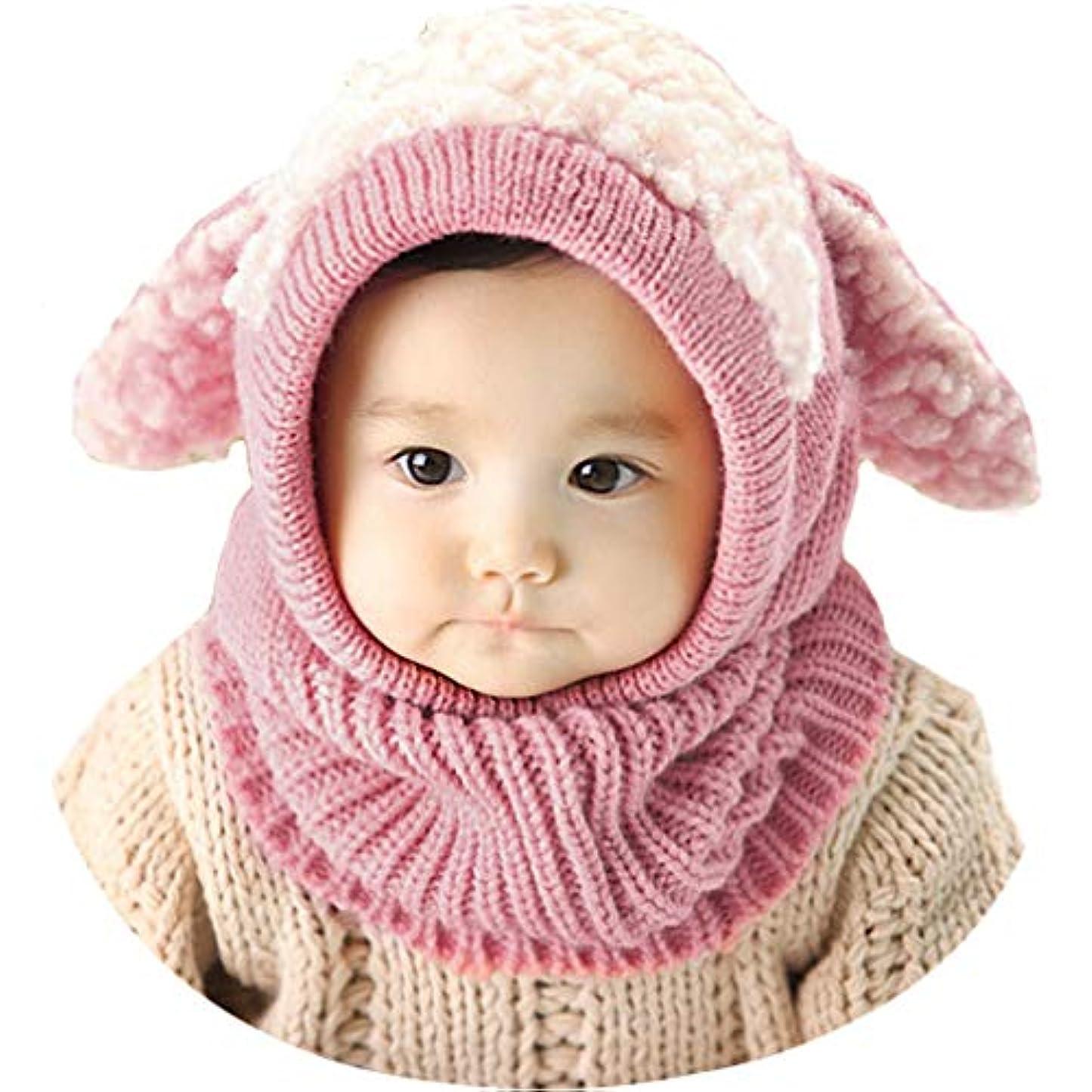 メルボルン時系列外科医Y-BOA ベビー 赤ちゃん 帽子 ニット ハット キャップ 耳あてうさぎちゃん風 可愛い 秋冬 防寒保温 女の子 男の子 キッズ コスチューム 写真撮影 出産祝い ピンク