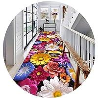 ZENGAI 廊下のカーペット ランナー ラグ カッタブル 立体視 花柄 滑り止め 廊下 戸口 カーペット 寝室 エリアラグ、 カスタムサイズ (Color : A, Size : 1x4m)