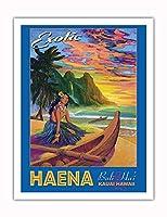 エキゾチックなハエナビーチ - カウアイハワイ - バリハイ、マカナ山 - ビンテージなハワイの旅行のポスター によって作成された リック・シャープ - アートポスター - 51cm x 66cm