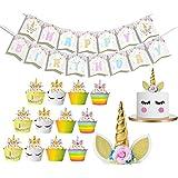 パーティー 飾り セット ユニコーン ケーキトッパー 誕生日 ケーキラッパー ゴルード 金色 Happy Birthday バナー 子供 装飾 飾り付け 50枚セット