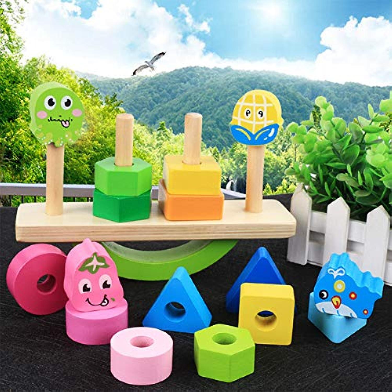 EDTara 木製 数学パズル 形状カラー ソーター 認識 幾何学ボード ブロック パズル 積み重ね バランス ブロック 男の子 女の子 年齢 1 2 3