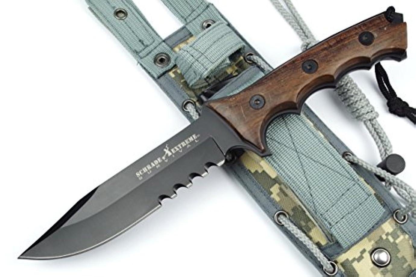 エキス対角線バーチャルSCHRADE(シュレード) サバイバルナイフ 6mm厚ブレード フルタング構造 セレーション デジカモシース 砥石付き NO.SCHF3 【並行輸入品】