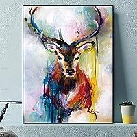 キャンバスウォールアートの絵画、Hdキャンバスプリントポスター抽象水彩油絵スタイル動物鹿ポスター北欧モダンウォールアートインクジェット絵画画像用リビングルーム家の装飾50×60センチ