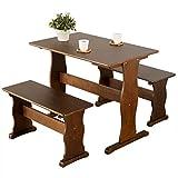家具の赤や 天然木パイン材 ダイニング3点セット 簡単組み立て シンプルデザイン (ブラウン)