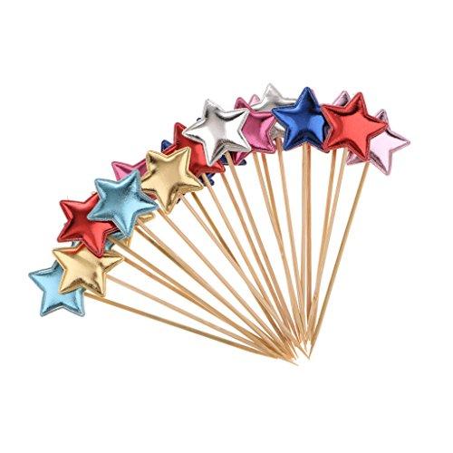 Baosity 20個 ケーキトッパー フードピック 可愛い スター 星型 写真小物 料理飾り 多色選べる - 混合