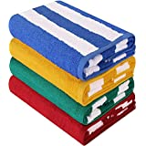 Utopia Towels Cabana Stripe Beach Towels (4 Pack, 76 x 152 cm) - Large Pool Towels - Variety Pack