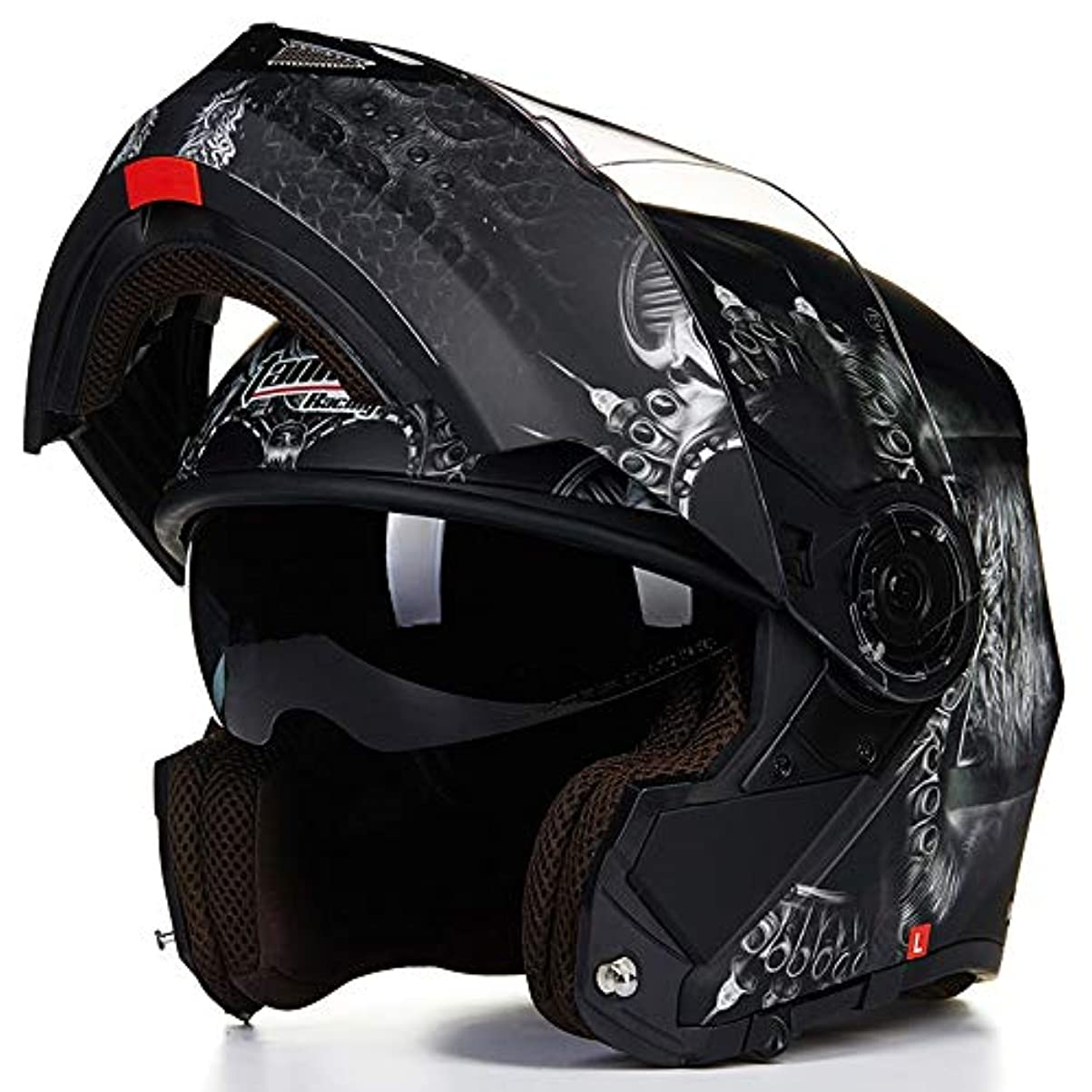 うっかり作業件名HYH ダムブラックオートバイフルフェイスヘルメットメンズダブルレンズオープンフェイスヘルメットフルカバー機関車オフロードヘルメット四季ユニバーサルグレーゴーストパターン いい人生 (Size : M)