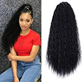 Afro Puff Drawstring Ponytail for Black Women Graceful African American Synthetic Black High Puff Ponytail with Clips Color (Long ponytail black)
