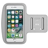 iPhone 7 Plus アームバンド - ATiC iPhone 7 Plus/ iPhone 6 Plus/ iPhone 6s Plus/ 5.7インチ以下スマートフォン用 汗プルーフ透明樹脂製ランニング スポーツ アームバンドケース SILVER