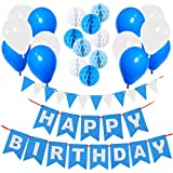 Happy Birthday Decorations Supplies, Gyvazla Happy Birthday Banner and 9pcs Blue and White Paper Honeycomb Balls, 12 Triangle Bunting Flags, 12pcs White and Blue Pearl Balloons for Kids and Adults