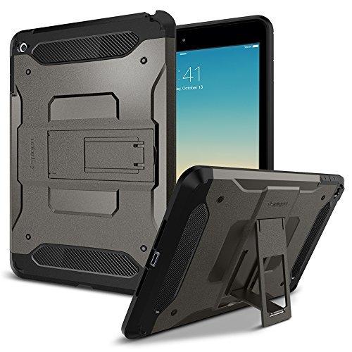 【Spigen】 タブレットケース iPad Mini4 ケース 対応 米軍MIL規格取得 耐衝撃 スタンド機能 タフ・アーマー SGP11737 (ガンメタル)