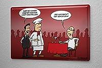 Tin Sign ブリキ看板 Cartoon Holtschulte restaurant kitchen chef waiter wine