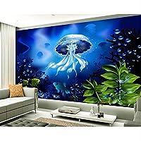 Ansyny カスタム壁紙3Dステレオ海底世界ゼリー水テレビの背景壁のリビングルームの寝室の背景3Dの壁紙-220X140Cm