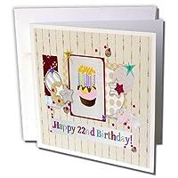 ビバリーターナー誕生日、星、カップケーキとキャンドル、幸せのデザイン–コラージュ22nd誕生日–グリーティングカード Set of 6 Greeting Cards