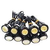 LED 24V 10W 23㎜ 牛目 丸形 防水 デイライト 10個 セット 黒 ライト色 ホワイト
