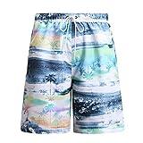 【Palmwave】メンズ水着 海パン サーフパンツ 大きいサイズ メッシュインナー付き ウエストゴム&紐 ファスナー付ポケット アロハ ハワイ風 PW026
