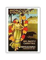 1911ミッドパシフィック・カーニバル - ホノルルハワイ - 第6回フローラル・パレード - ビンテージなカーニバルのポスター c.1911 - アートポスター - 23cm x 31cm