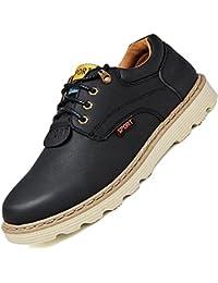 LESONG カジュアル レース シューズ 黒 ブラウン カーキ ブルゴーニュ ディープブルー プレーントゥシューズ 革靴