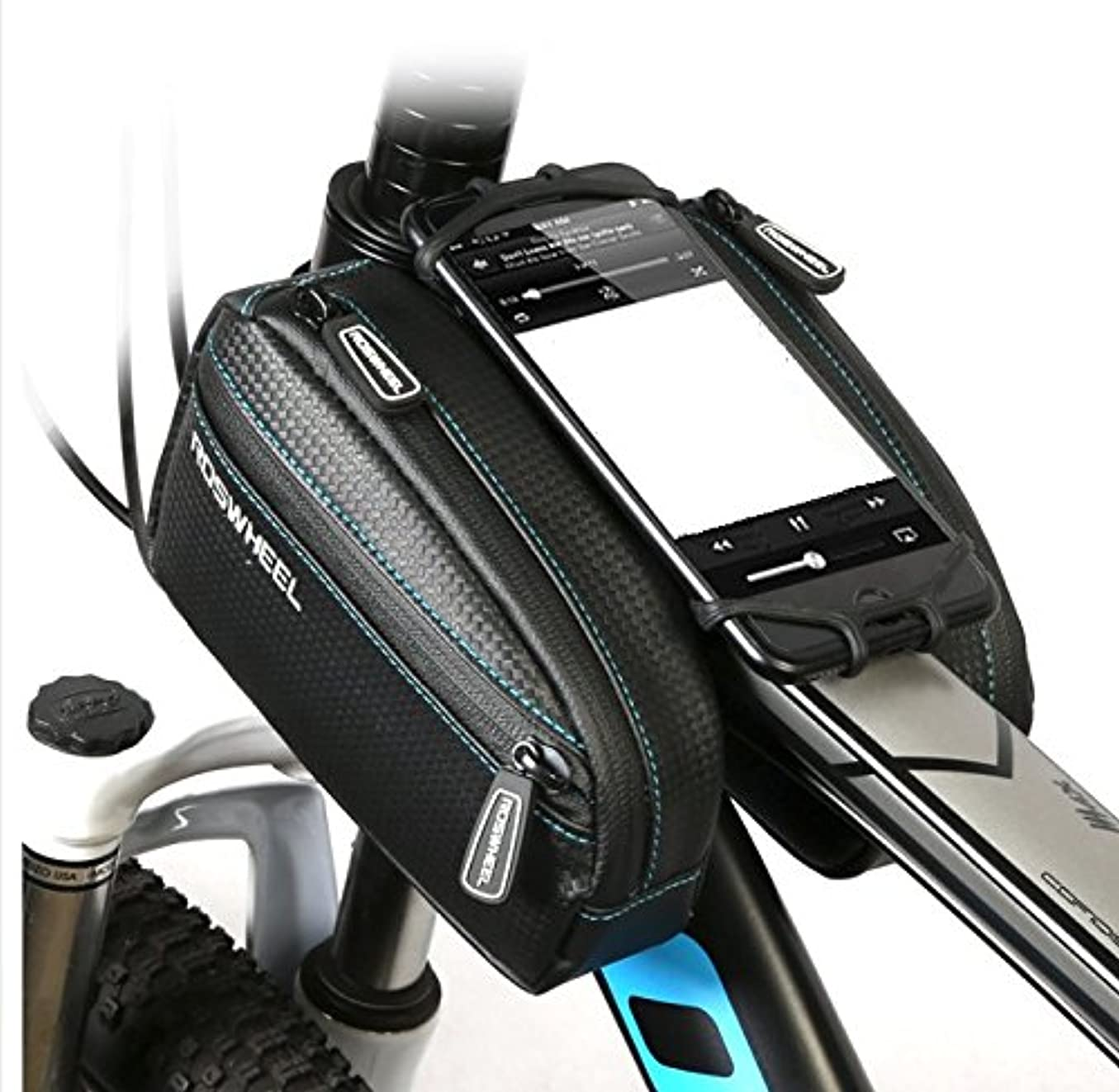 順応性のあるより変数Juscycling カーボンファイバー テクスチャートップ チューブフレームバッグ ポーチ 携帯電話ホルダー 4.2, 4,8,5.5 最大6.7インチのスクリーン ロードバイク MTB サイクリング用 1リットル容量