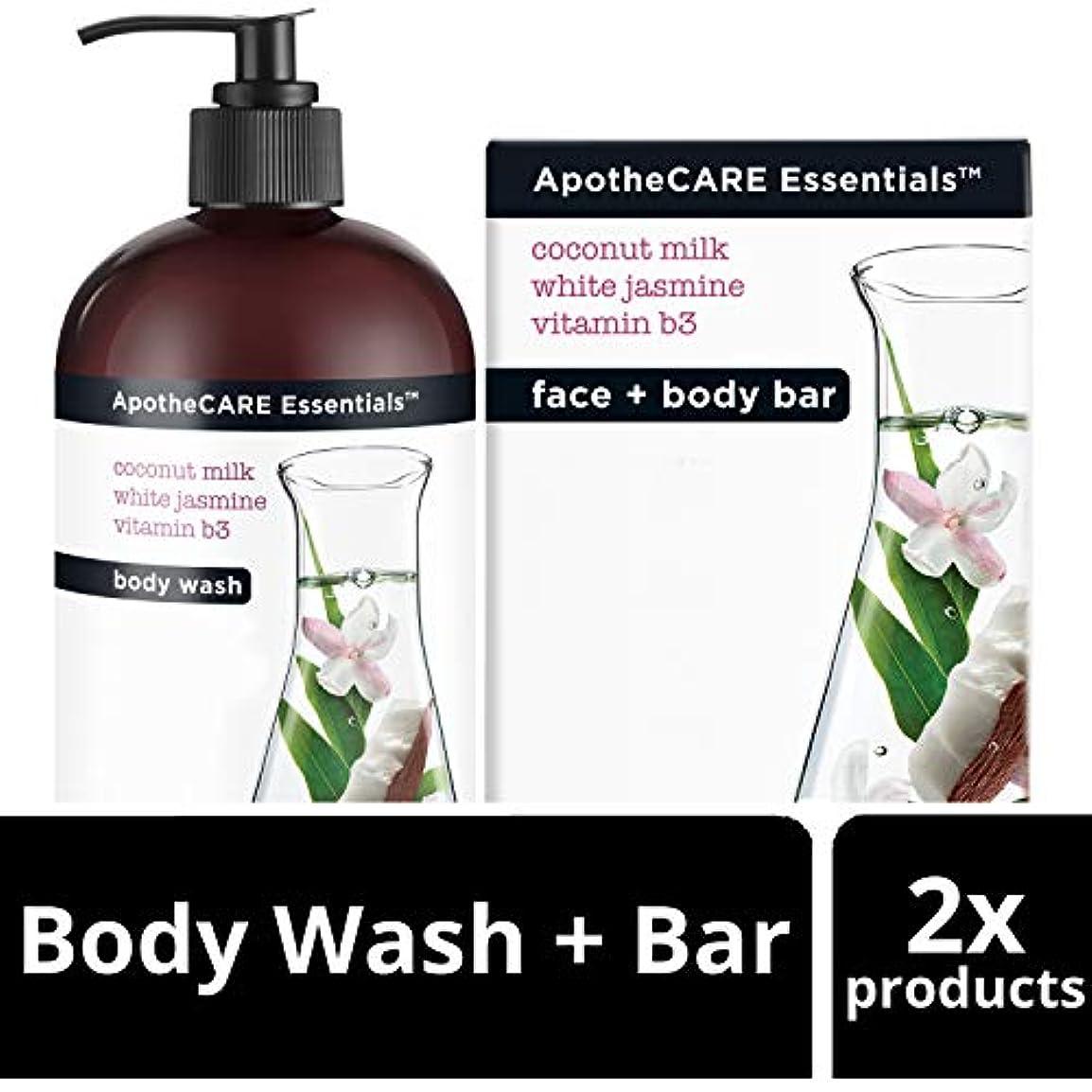 慈善背の高い我慢するBody Wash and Bar Soap, Coconut Milk, White Jasmine, Vitamin B3, 16 oz 473 ml