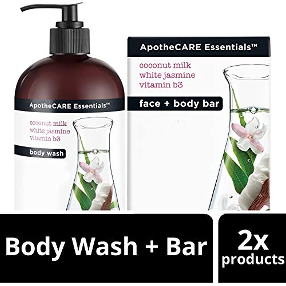 比喩箱くつろぎBody Wash and Bar Soap, Coconut Milk, White Jasmine, Vitamin B3, 16 oz 473 ml