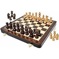 家のチェス – 12インチ木製磁気折りたたみトラベルチェスセット/ボード – 2 Extra Knights、2 Extraポーン、2 Extra Queens &代数表記 – ハンドメイド – プレミアム品質
