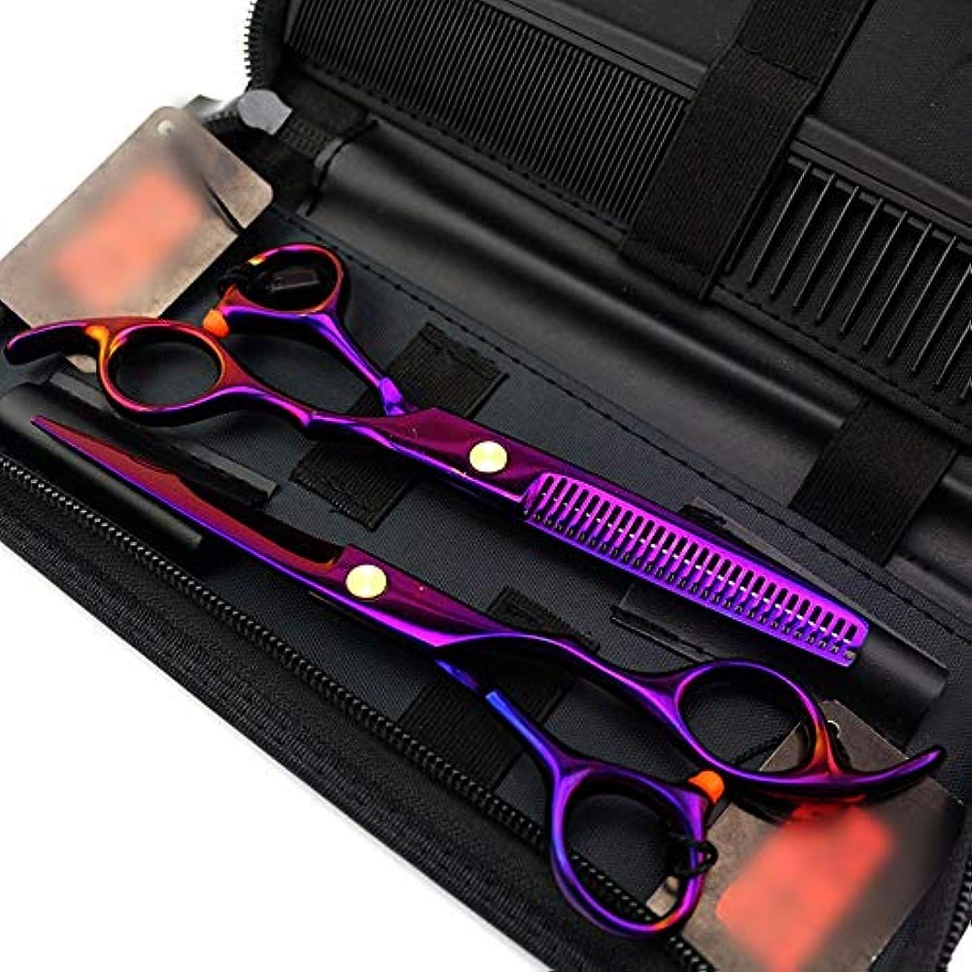 スタンド持っているガレージ6インチプロフェッショナル理髪セットパープル理髪はさみ、フラットせん断+歯シザー ヘアケア (色 : 紫の)