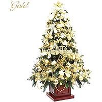 クリスマスツリー ウッドベースツリー ゴールド木製ポットツリー 組み立て式 210cm