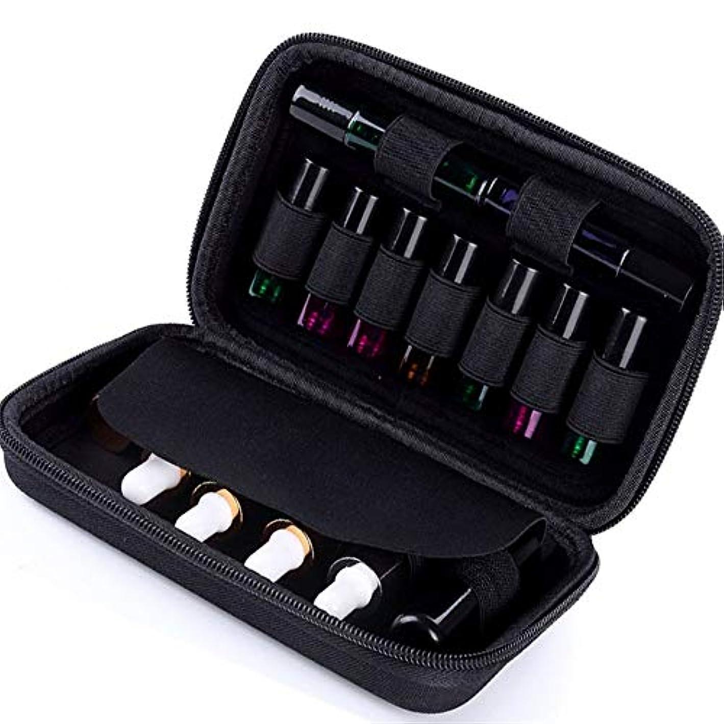 慣らすベギンコンソールエッセンシャルオイルボックス エッセンシャルオイルの15本のボトルレザーケースエッセンシャルオイルの15本のボトル完璧なロールと標準10ミリリットルのボトルは、あなたのベストを披露します アロマセラピー収納ボックス (色 : ブラック, サイズ : 20X13X4.5CM)