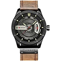 Men Watch with Quartz Leather Band Date Display Waterproof Wrist Watches (coffee)