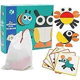 goupgolboll-漫画木製蜂鳥動物色学習ジグソーパズルキッズ教育玩具