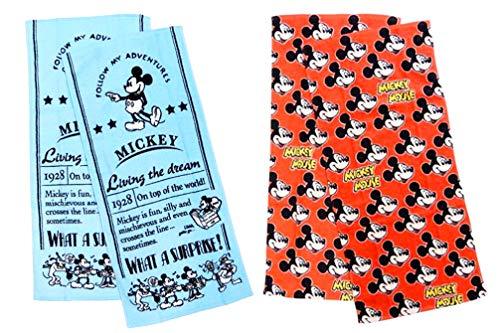 ディズニー ミッキーマウス フェイスタオル 4枚セット(2柄×2枚) 【サプライズ ブルー・ポップスマイル レッド】