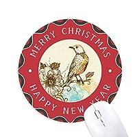 カラフルな鉛筆の鳥の花 円形滑りゴムのクリスマスマウスパッド