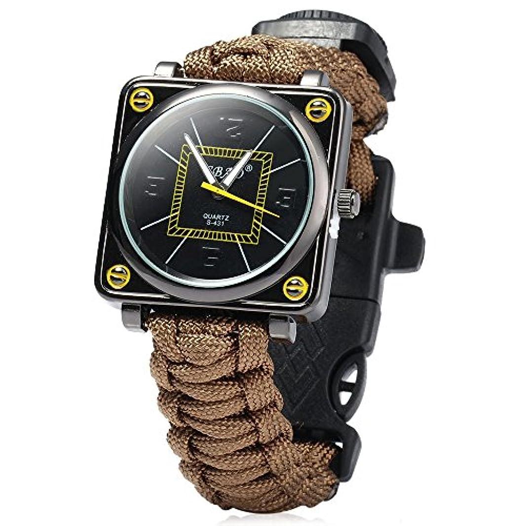 ドアシーサイドマウスGBTIGER多機能アウトドア 腕時計 サバイバルブレスレット パラコードブレスレット 緊急 コンパス/ホイッスル/ファイヤースターター/スクレーパー付き(グリーン)