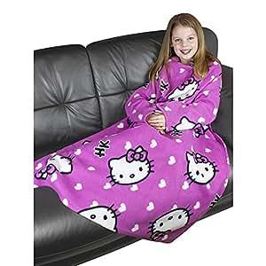 キッズ子供用 ハローキティ 袖付きあったか着る毛布 フリースローブ ローブブランケット 女の子 ガールズ (90cm x 120cm) (ピンク)