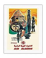アフリカ - 歴史の十字路 - 空気アルジェリア - ビンテージな航空会社のポスター c.1950s - キャンバスアート - 51cm x 66cm キャンバスアート(ロール)