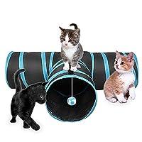Nosii トンネルペット 猫 3通T型トンネル おもちゃ 折りたたみ式 鈴ボール付き 収納便利 ペット用品 (ブルー)