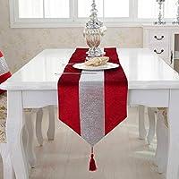 北欧風 テーブルランナー テーブルランナー 高級感  キラキラ オシャレ 上品 豪華 防汚 卓 テーブルの飾り キッチン用品 赤(33 * 210cm)