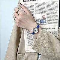 シンプルな小さなダイヤルの女性の白い時計の高級ブランドのクォーツ女性時計レトロ時計ヴィンテージレザーレディース腕時計 (ブルーベルト)