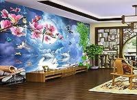 Weaeo カスタム写真3D壁の布中国の絹の壁画夜の部屋のロマンチックな白鳥のテレビの背景の壁3Dステレオスコピックプリントストーフ-400X280cm