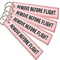 ポナス Remove Before Flight キーチェーン 4個パック (ピンク&ブラック)