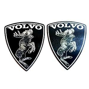"alstickersアルミ車ステッカー跳躍するムース(ヘラジカ) Volvoセット2ピースサテン、「x2.32」(サイズ72x 59mm、厚さ0.01""0.3MM、ブラック。"