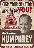 S-RONG雑貨屋 Re-Elect Hubert Humphrey for Senate ブリキブリキ 看板レトロ デザイン 20x30cm